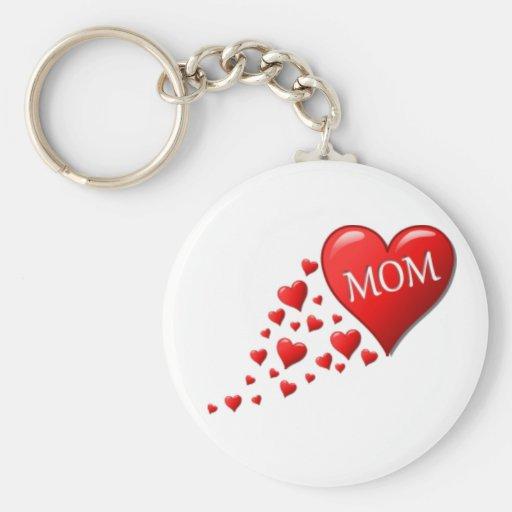 Red Mom Hearts Keychain
