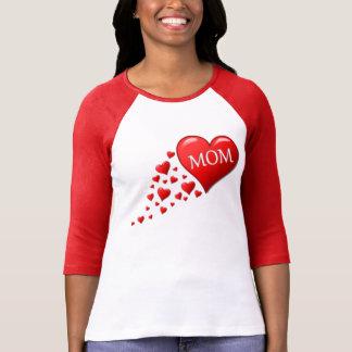 Red Mom Hearts Tee Shirts