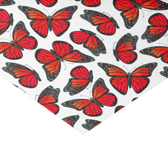 Red Monarch Butterfly Pattern Tissue Paper