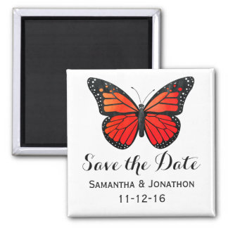 Red Monarch Butterfly Wedding Save the Date Square Magnet