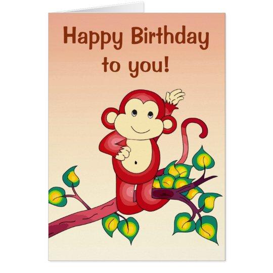 Red Monkey Animal Birthday Card