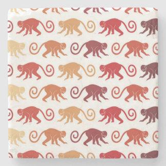 Red Monkeys Pattern Stone Coaster