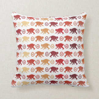 Red Monkeys Pattern Throw Pillow