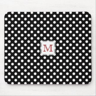 Red Monogram: Black & White Polka-Dot Mousepad