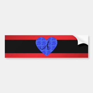 Red monogram blue roses bumper stickers