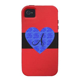 Red monogram blue roses iPhone 4/4S case