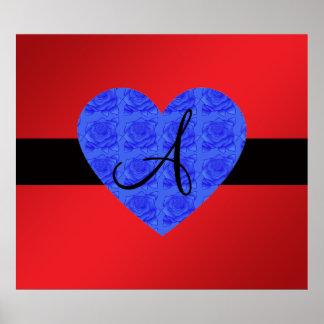 Red monogram blue roses print