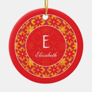 Red Monogram Decorative Floral Tiles Ornament