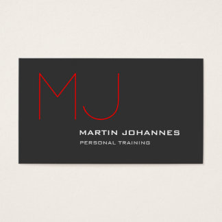 Red Monogram Grey Personal Trainer Business Card
