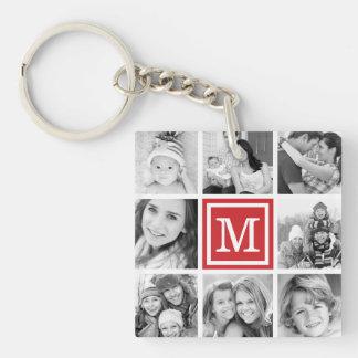 Red Monogram Photo Collage Key Ring