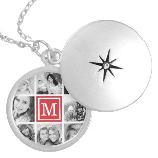 Red Monogram Photo Collage Locket Necklace