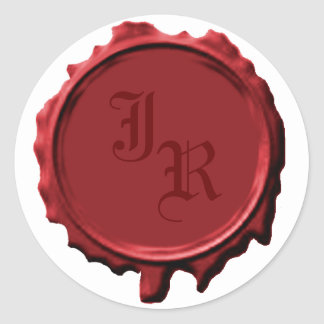 Red Monogram Seal Wedding Stickers