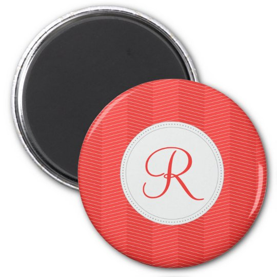 Red Monogram Thin Chevron Pattern Magnet