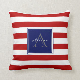 Red Monogrammed Awning Stripe Throw Pillow