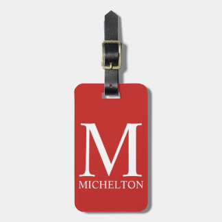 Red Monogrammed Luggage Tag