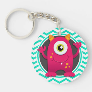 Red Monster; Aqua Green Chevron Double-Sided Round Acrylic Key Ring