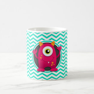 Red Monster; Aqua Green Chevron Coffee Mugs