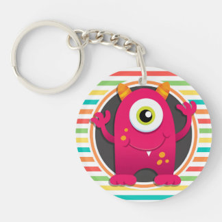 Red Monster; Bright Rainbow Stripes Acrylic Key Chain