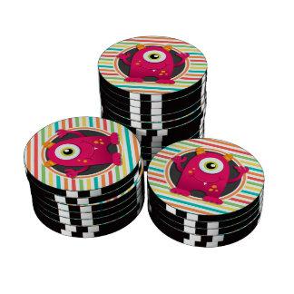 Red Monster; Bright Rainbow Stripes Poker Chips Set