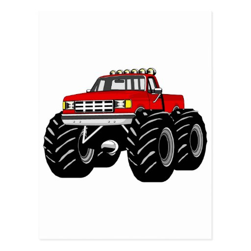 RED MONSTER TRUCK POST CARDS