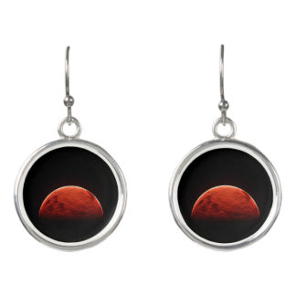 Red Moon Skies Fashion Earrings by Julie Everhart