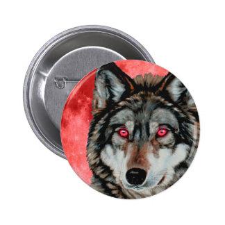 Red Moon Wolf 6 Cm Round Badge