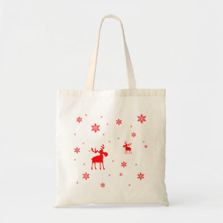 Red Moose and Red Snowflakes - Bag