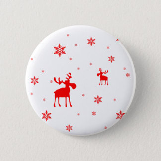 Red Moose and Red Snowflakes - Button