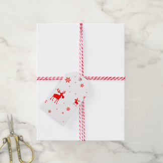 Red Moose and Red Snowflakes - Gift Tag