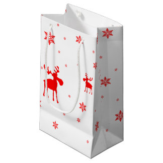 Red Moose and Red Snowflakes - Small Gift Bag