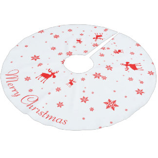 Red Moose and Red Snowflakes - Tree Skirt