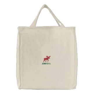 Red Moose Silhouette with Custom Text Embroidered Tote Bag