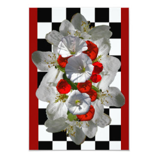 Red Morning Glories with White Apple Blossoms Card