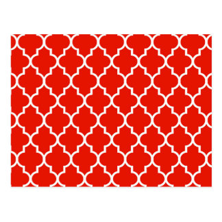 Red Moroccan Quatrefoil Pattern Postcard
