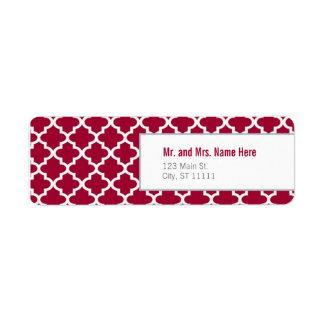 Red Moroccan Tiles Return Address Label