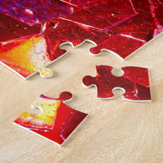 Red mosaic hexagon abstract shiny glitter pattern jigsaw puzzle
