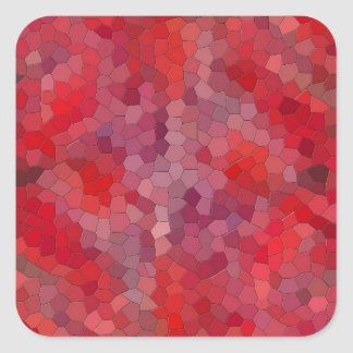 Red Mosaic Tiles Square Sticker