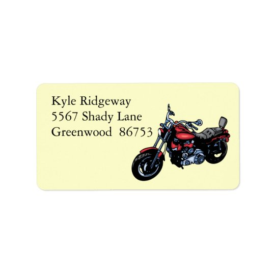 Red Motorcycle Address Label