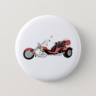 red motorcycle trike 6 cm round badge