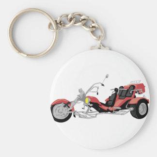 red motorcycle trike basic round button key ring