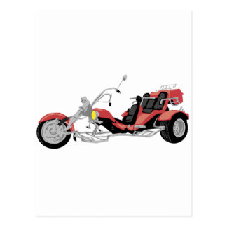 red motorcycle trike postcard