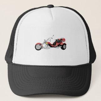 red motorcycle trike trucker hat