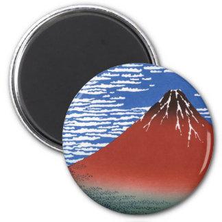 Red Mount Fuji Vintage Japanese Print 6 Cm Round Magnet