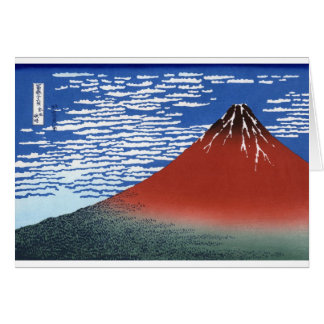 Red Mount Fuji Vintage Japanese Print Greeting Cards