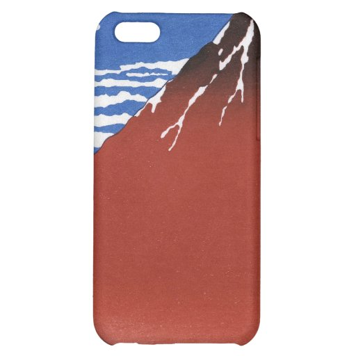 Red Mount Fuji Vintage Japanese Print iPhone 5C Covers
