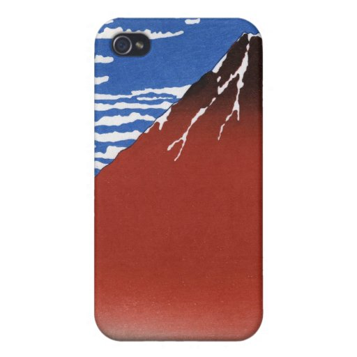 Red Mount Fuji Vintage Japanese Print Cases For iPhone 4