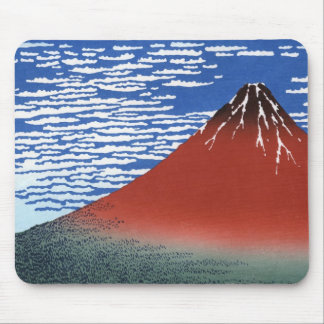 Red Mount Fuji Vintage Japanese Print Mouse Pad