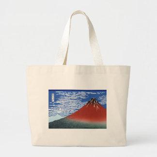 Red Mount Fuji Vintage Japanese Print Jumbo Tote Bag