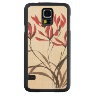 Red Mountain Flowers Carved Maple Galaxy S5 Case