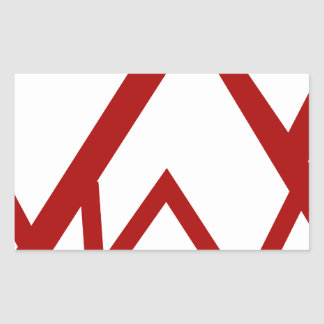 Red Mountain Range Peak Icon Rectangular Sticker
